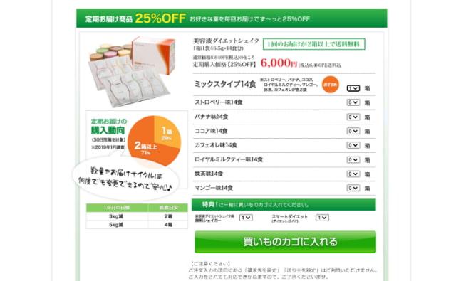 美容液ダイエットシェイクの注文の流れ「定期購入商品」